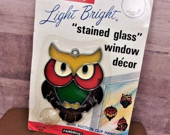 NIP Light Bright Owl Suncatcher made by Fairgrove in the 80s