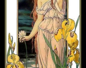 Art Nouveau Woman in the Garden with Lily FlowersRefrigerator Magnet