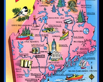 Pictorial Map of Maine Refrigerator Magnet
