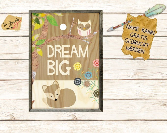 Dream big collage with Fox and Owl
