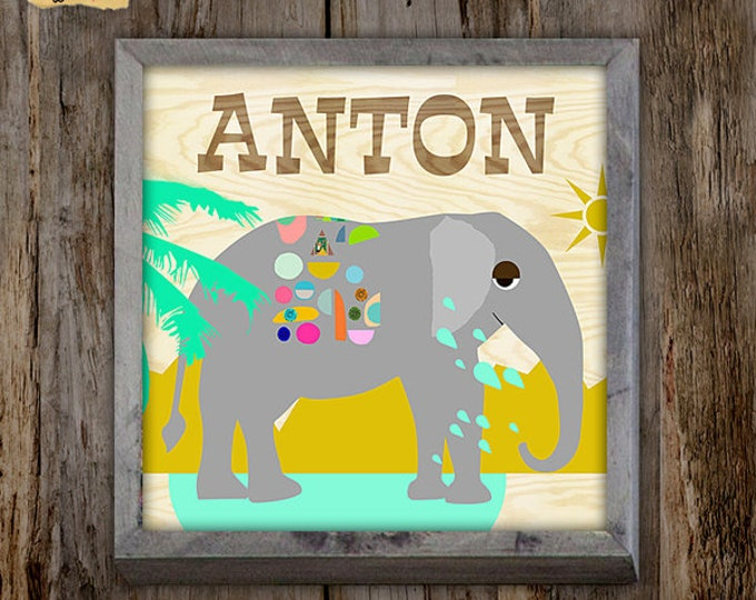 Elephant with name Collage poster