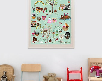 New A3-Cute children's room poster Owl Park