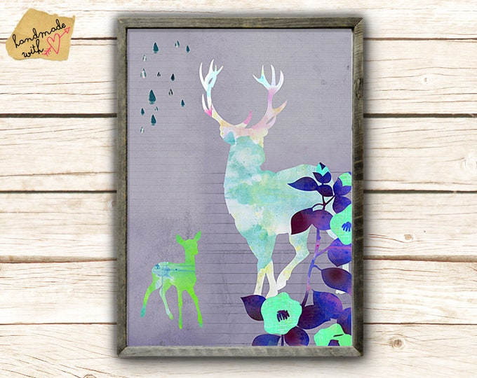 A3 format-Deer with fawn collage