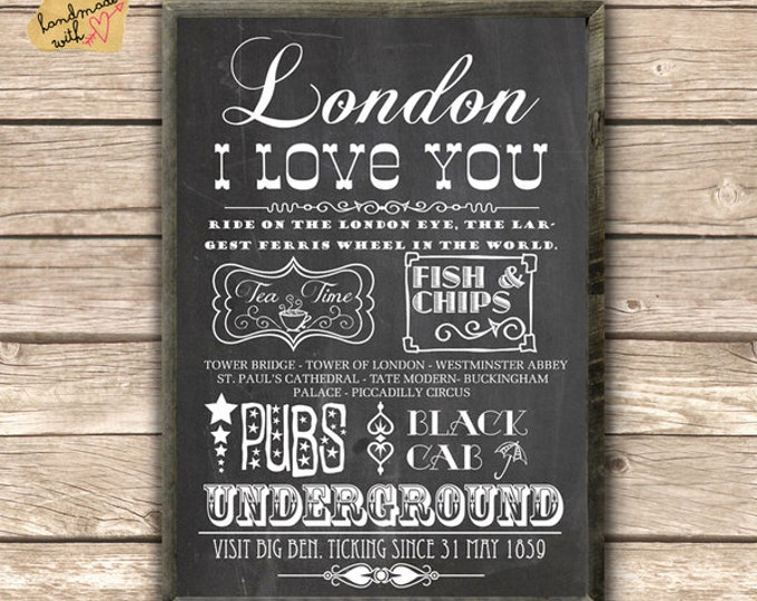 New A3 London typo poster on blackboard background