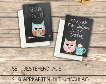2 Cute folding cards with owls