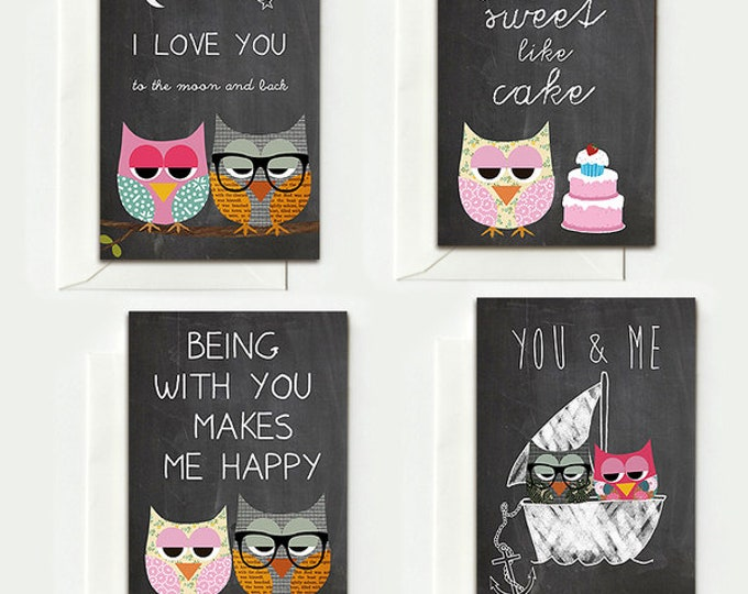 4 folding cards for night owls on blackboard background