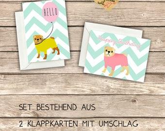 2 Cute folding cards with pug