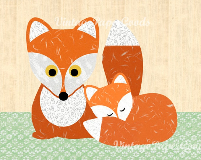 A3 Sweet Fox with baby Fox poster