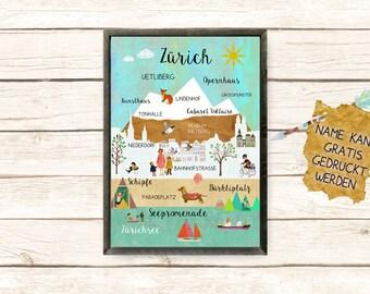 Zurich Collage Poster