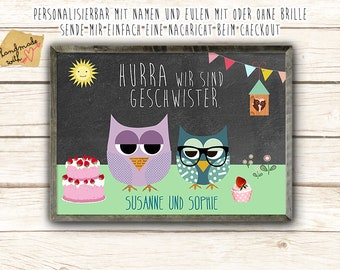 Hurray We are siblings owl posters