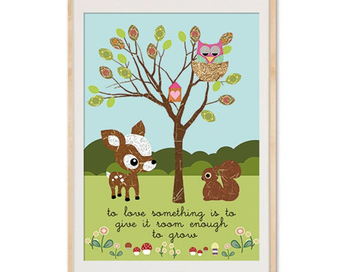 Children's room poster garden deer, owl, squirrel