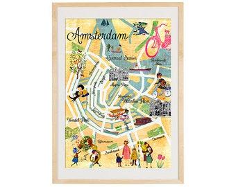 New A3 Retro Amsterdam Collage Poster