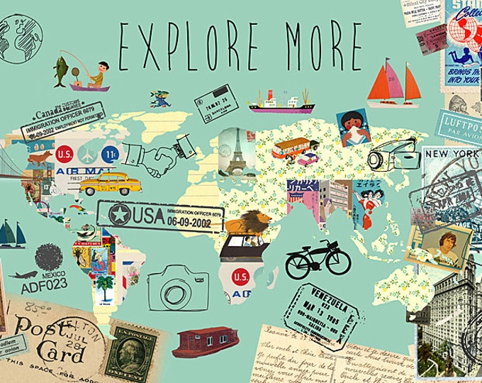 New A3 Explore more world map collage
