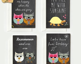 4 folding cards for lovers of owls on board-Hi...