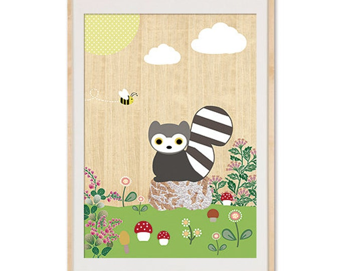 Children's room poster raccoon in spring on wood