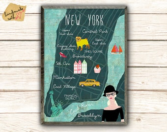 New A3 retro New York Collage Poster