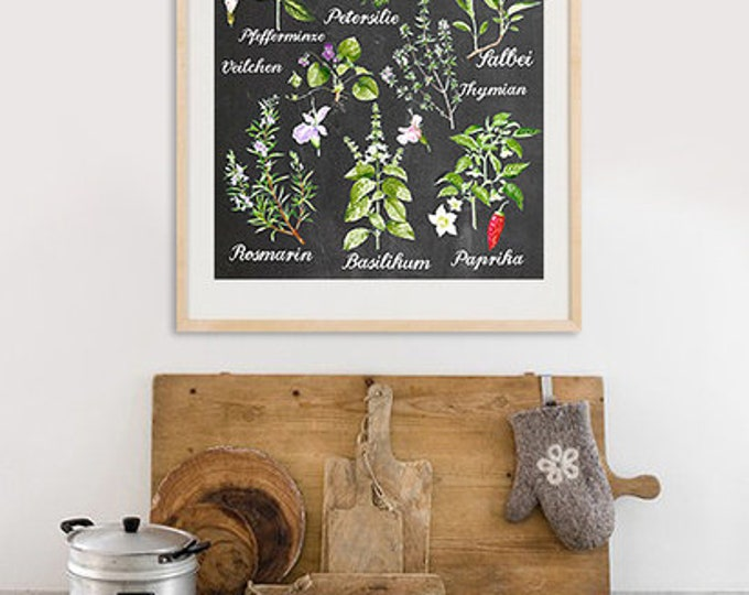 A3 Kitchen Herb Posters on blackboard background