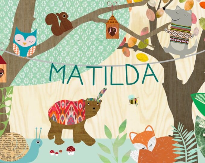 Name and animals in the forest children's room posters