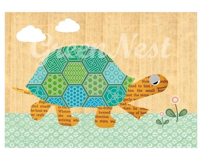 Green turtle on wooden background posters