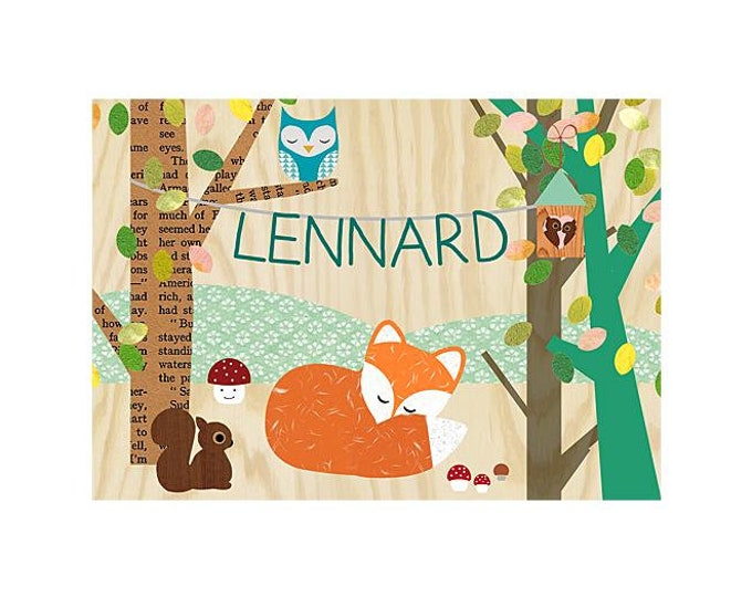 A3 Small fox, squirrel, Owl + name