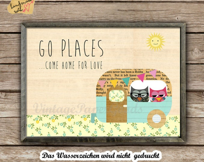Go places... come home for love typo print