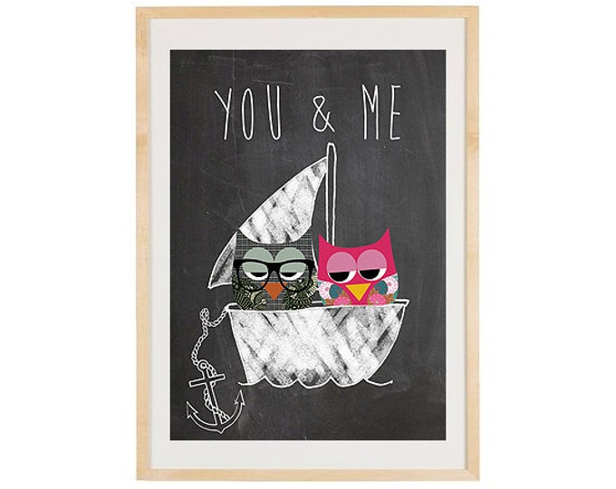 You & Me-owl boat on blackboard background