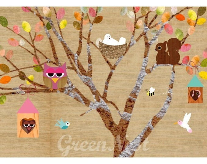 Tree with forest animals Posters