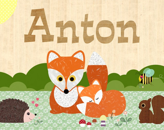 A3 Sweet Fox, Hedgehog, squirrel + name poster