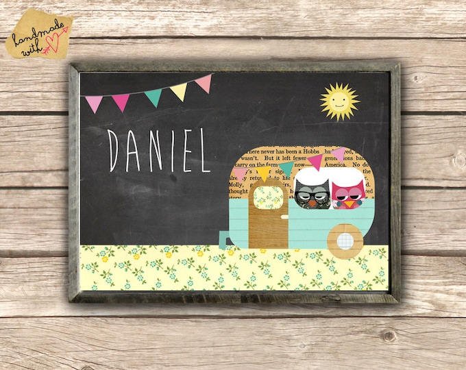 Children's posters with name & Camper background
