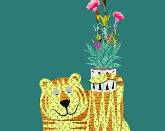 Tiger with flower pot