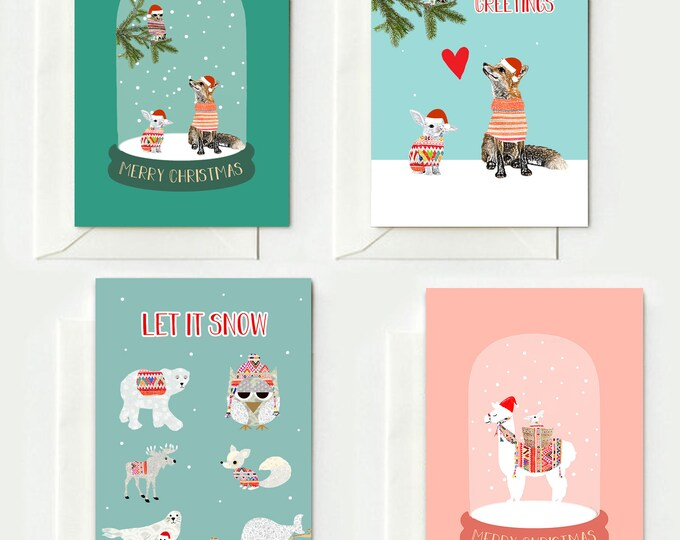 4 Christmas Cards - Folding Cards