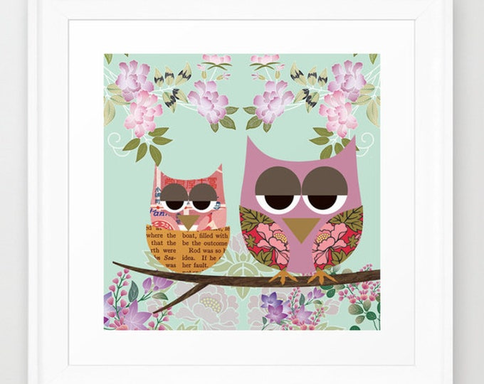 Sweet Owls in the jungle Children's room poster