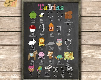 Name and ABC learning on blackboard background
