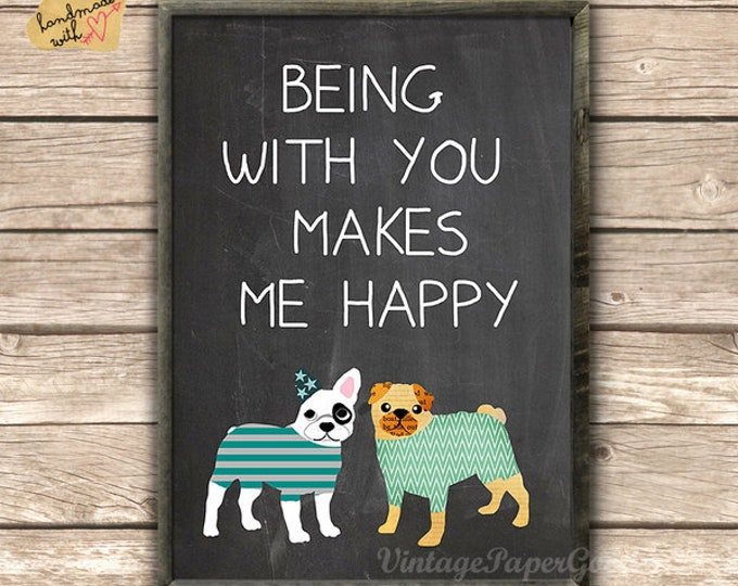 Pug and Bulldog typo Print