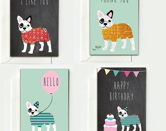 4 French Bulldog Folding Cards