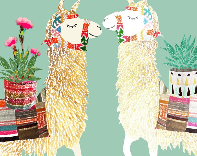 In love llamas collage