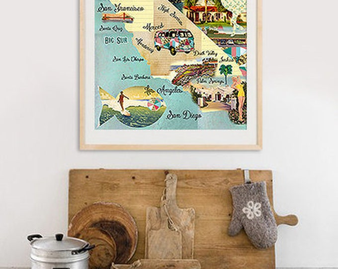 A3 Vintage California Map Poster