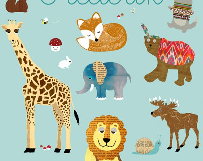 Poster with name zoo animals-Fox, Giraffe, Rhino
