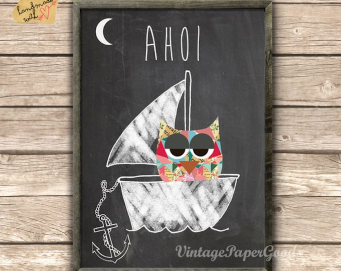 Ahoy posters with anchor and owl in the boat