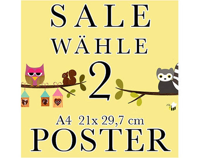 Sale 2 Posters of your choice in A4 format