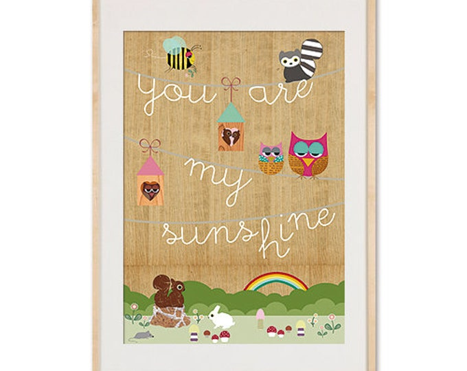 You are my Sunshine collage children's posters on wood