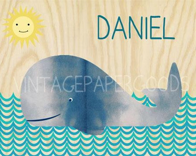 Sweet whale on wood background collage poster