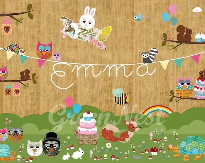 Name Animals & Party in the forest Children's room Poste