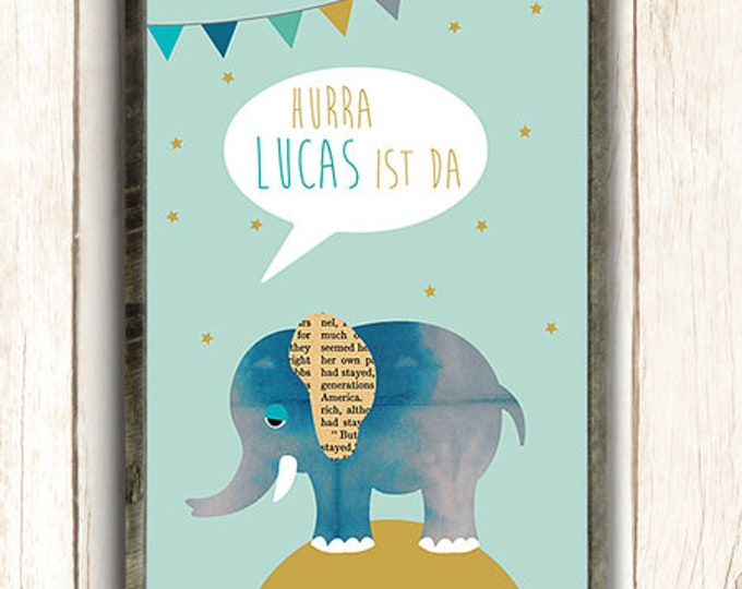 Elephant with name poster