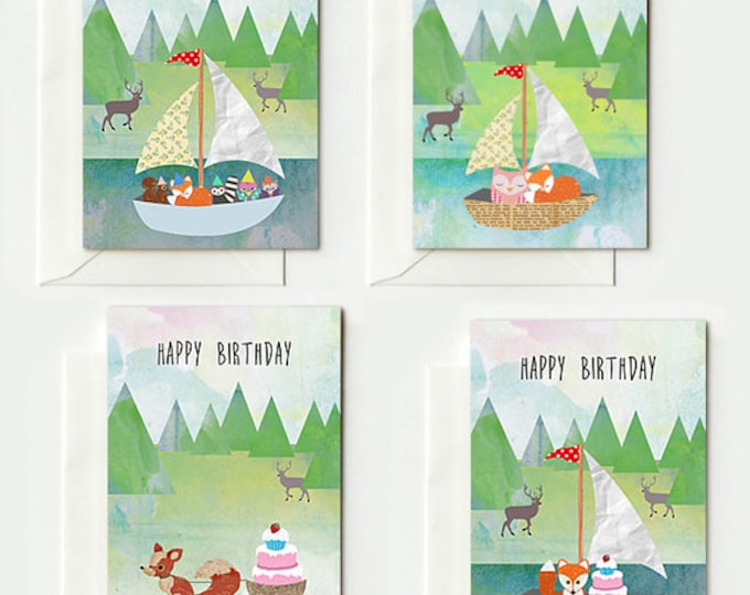 4 Cute folding cards with foxes and envelopes