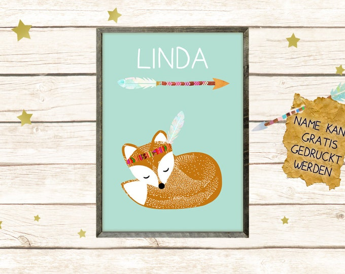 A3 Poster-Indian Fox with Name