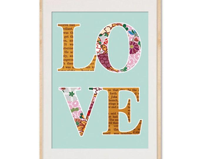 Love Poster auf blauem Hintergrund