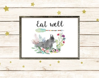 "Squirrel poster ""Eat well"""
