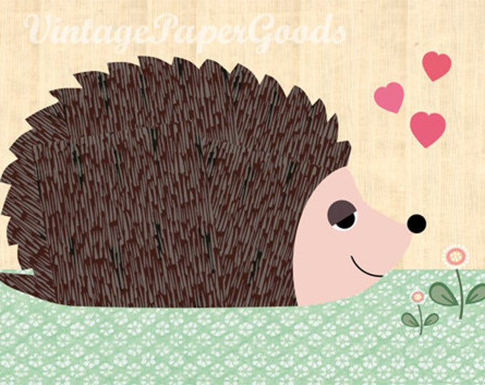 Children's room poster small hedgehog in spring