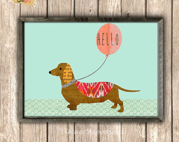 Berta: Dachshund on wood background